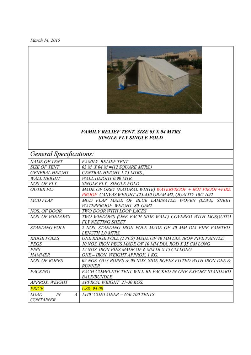 Quotation Relief Tent Size 3x4m