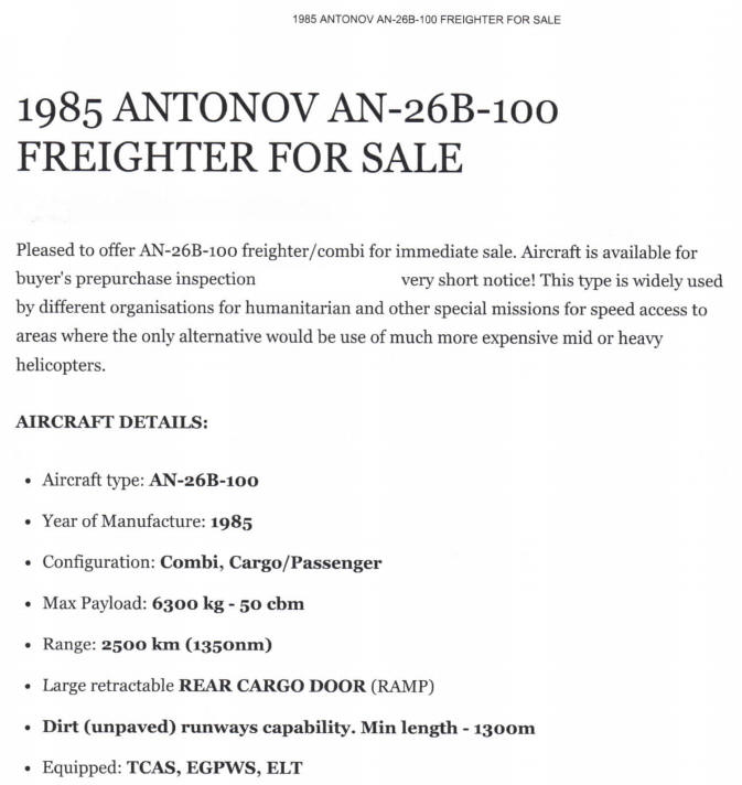 1 x Antonov AN-26B For sale