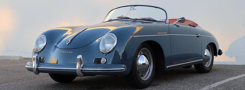 Beautiful 1956 Porsche 356A Speedster Rare Aqua-Marine Blue over Red Leather