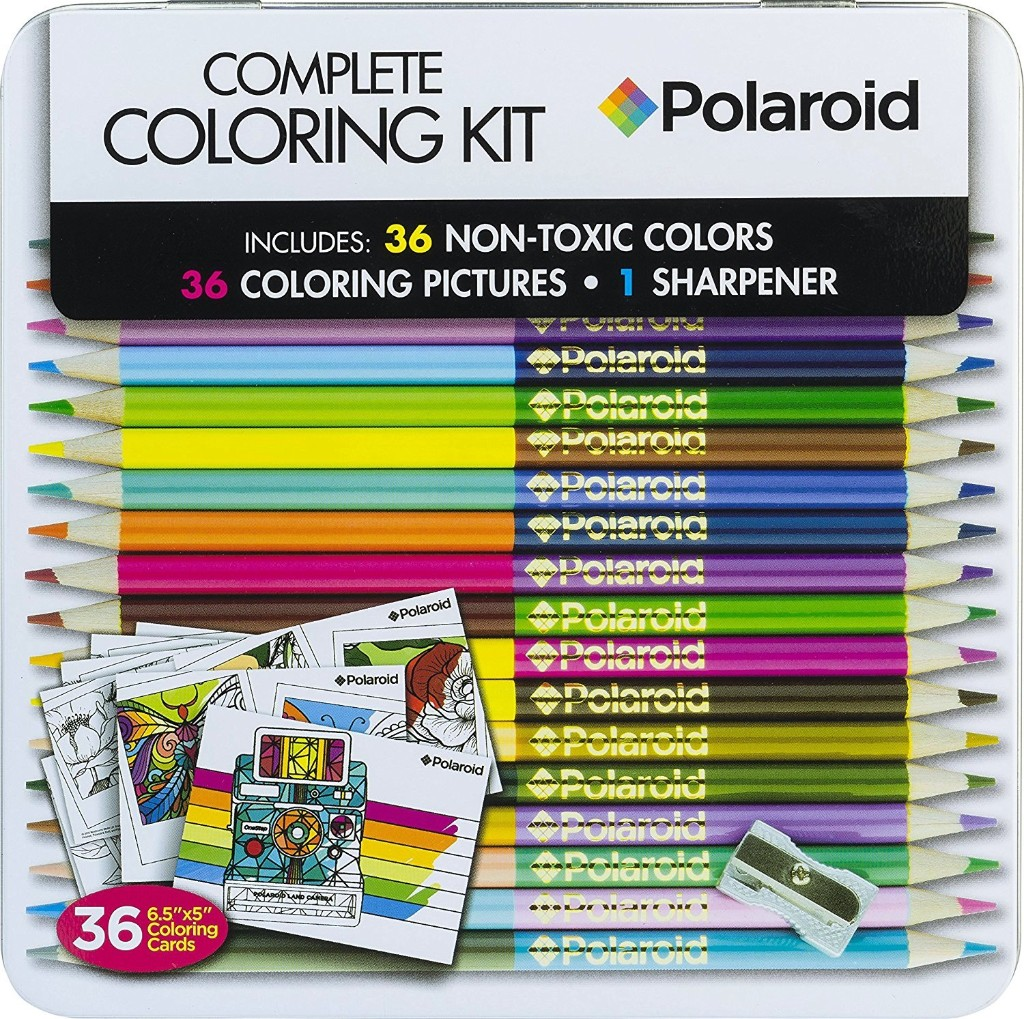 Polaroid Coloring Set 18 Premium Assorted Pre-Sharpened Double Sided Colored Pencils