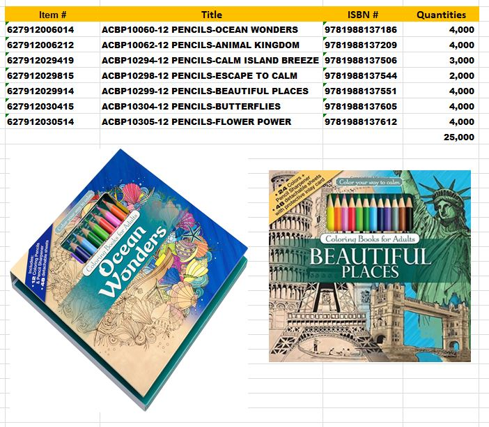 Coloring Books For Adults With 12 Double Sided Pencils Hard Cover