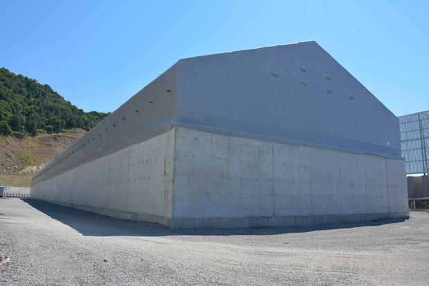 25x162m Steel Structure Warehouse Tent Built Over Concrete Wall