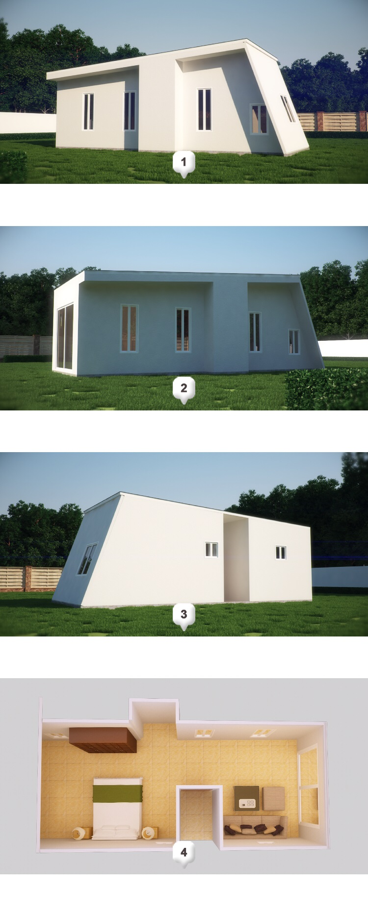 One bedroom prefab house