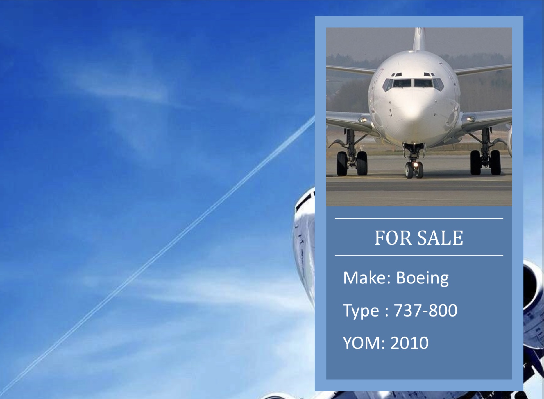 B737-800 YOM 2010 AC4 for sale
