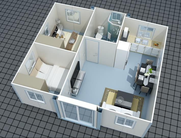 Hot 2 bedrooms expandable container house, easy for installation