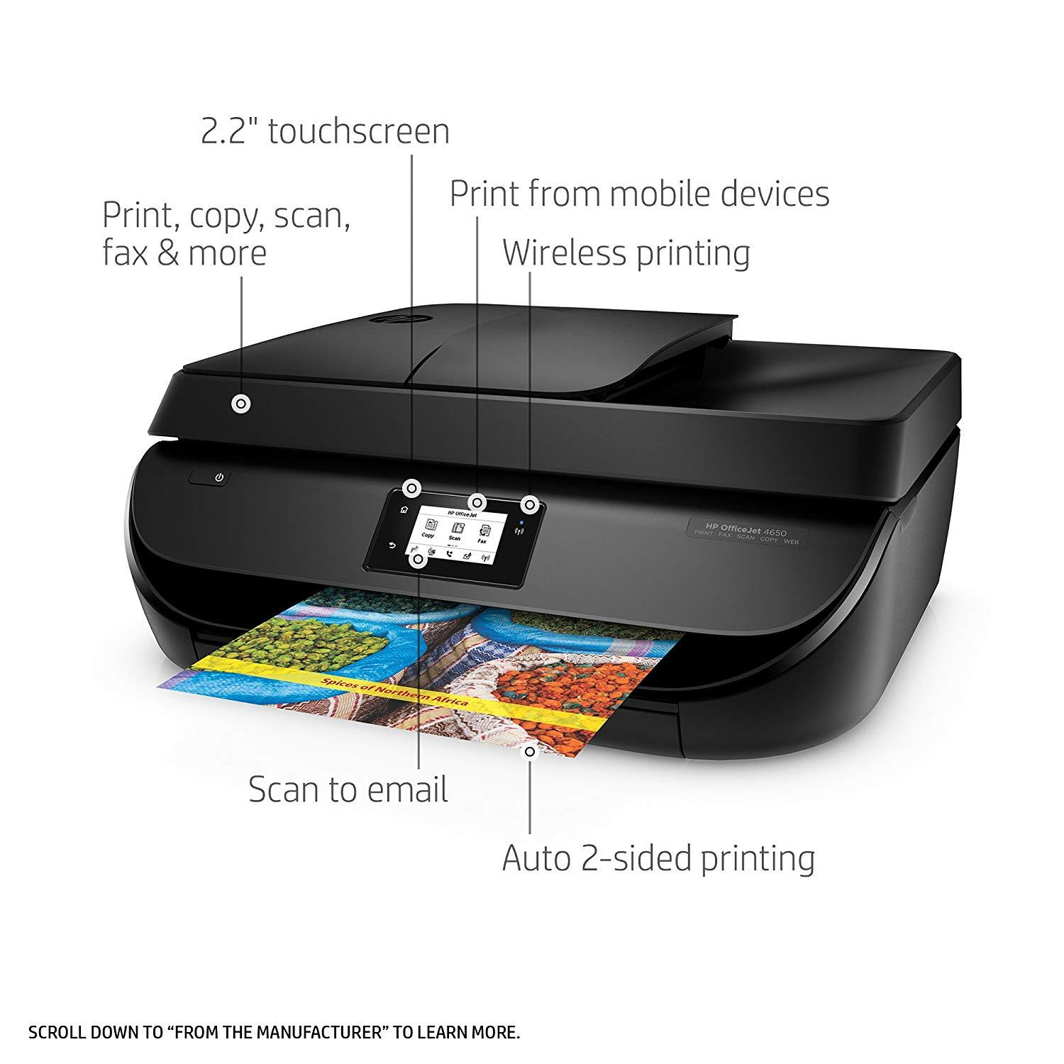 Refurbished HP OfficeJet 4650 All-in-One Wireless Printer with Mobile Printing, Instant Ink ready (F1J03A)