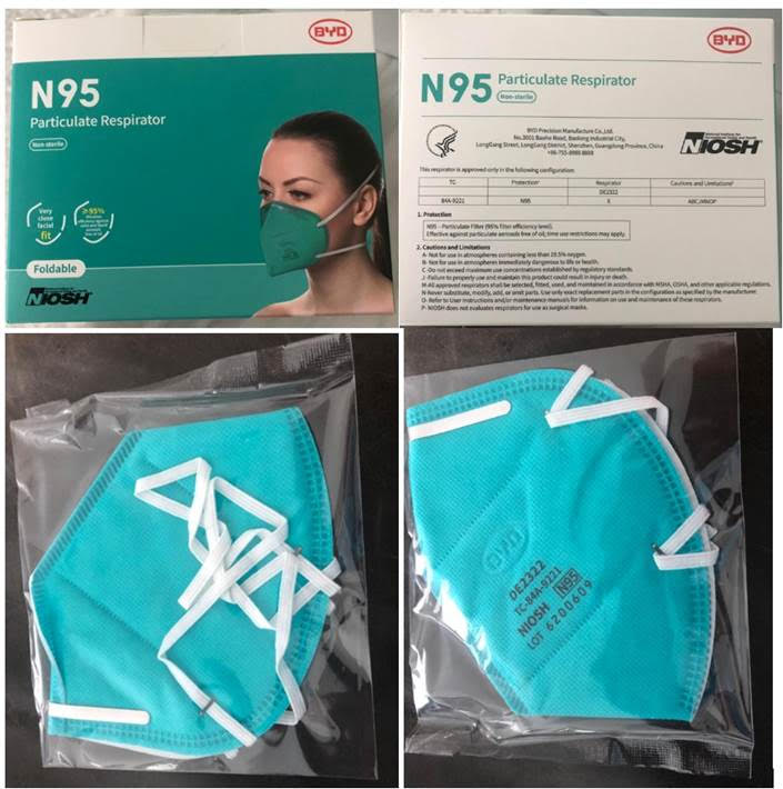 BYD Niosh Approved N95 Respirators. 5M. FOB Los Angeles $4.50/mask.