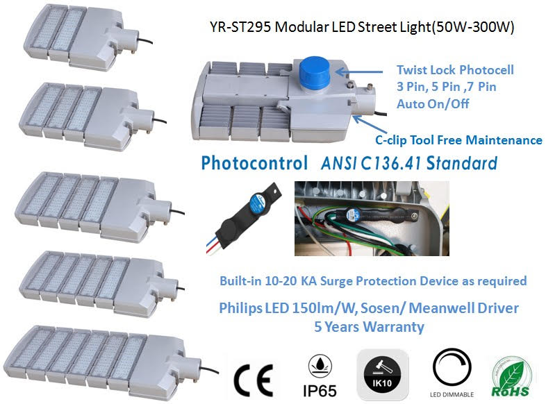 Modular street light with SPD and photocell