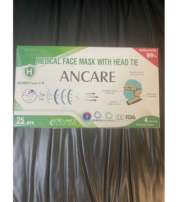 ANCARE ASTM LEVEL 3 4PLY DISPOSABLE MEDICAL FACE MASK WITH HEAD TIE.  300,000. FOB MIAMI