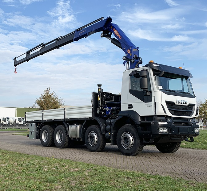 Weekly Update 17-11-2020 2 Units Iveco Trakker AD410T42H 8x4 Flatbed with Crane