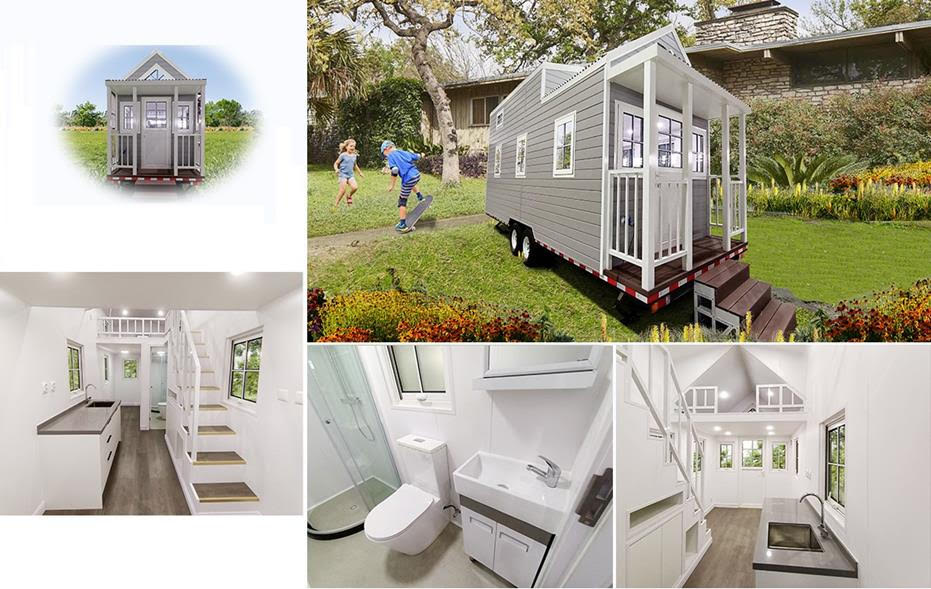 Grey Tiny House On The Wheels